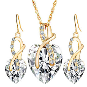 Women's Crystal Synthetic Diamond Crystal Heart Jewelry Set 1 Necklace 1 Pai..