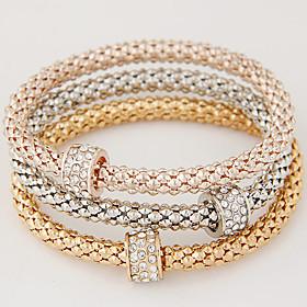 Women Fashion Simple Rhinestones Circle Charm Bracelet  Christmas Gifts