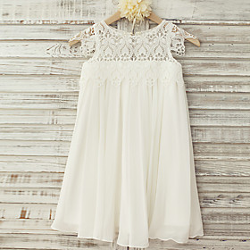 Sheath / Column Knee Length Flower Girl Dress - Chiffon Lace Short Sleeves Scoop Neck with Lace by LAN TING BRIDE