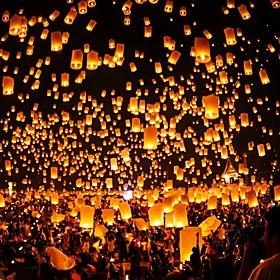10pcs Chinese Paper Lantern Sky Lanterns Flying Wishing Lamp Kongming Lantern Balloon Wedding Party Decoration