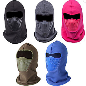 Hiking Hat Balaclava Windproof Thermal / Warm Fall Winter Black Men's Women's Skiing Camping / Hiking Hunting Solid Color / Fleece / Fleece