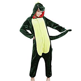 Kigurumi Pajamas Dinosaur Halloween Animal Sleepwear Green Patchwork Velvet Mink Kigurumi Unisex / Female / MaleHalloween / Christmas /