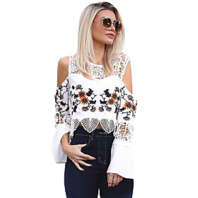 Women's Crochet Cold Shoulder Bell Sleeve Crop Top