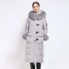 Manteau Doudoune Femme simple Décontracté / Quotidien Broderie-Polyester Duvet de Canard Blanc Manches Longues Noir / Gris / Vert Capuche