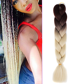 Braiding Hair 1 pack brown ombre creamy white crochet 24inch yaki kanekalon fiber 100g 2 tone jumbo braids synthetic hair with free hook 5083314