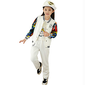 Image of Girls Fashion Han Edition Baseball Uniform During Spring Autumn Fashion Leisure Sports Two-Piece Outfit
