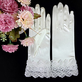 Wrist Length Fingertips Glove Satin Elastic Satin Bridal Gloves Party/ Evening Gloves Spring Summer Fall Winter Rhinestone lace