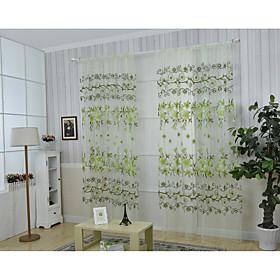 1 панель Окно Лечение Деревня , Цветы Гостиная Полиэстер материал Шторы портьер