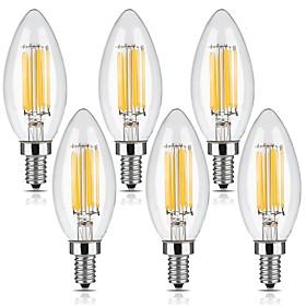 kwb 6W E12 LED Filament Bulbs C35 6 COB 600 lm Warm White Dimmable AC 110-130 V 6 pcs