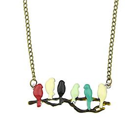 Colorful Enamel Bird Shape Pendant Necklaces