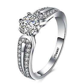 Women's AAA Cubic Zirconia Ring - Platinum Plated, Imitation Diamond Heart, ..