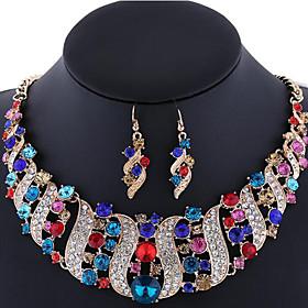 Women's Crystal Jewelry Set - Rhinestone, Rose Gold Plated, Imitation Diamond Luxury, Bohemian, Boho Include Statement Necklace Earrings Pink / Rainbow / Champ