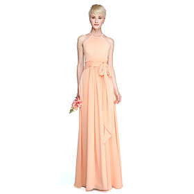 Sheath / Column Jewel Neck Floor Length Chiffon Bridesmaid Dress with Sash / Ribbon Ruching Pleats by LAN TING BRIDE plus size,  plus size fashion plus size appare