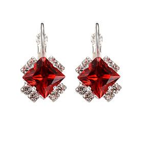 Women's Trendy Silver Plated Black/Red Crystal Plant Flower Hoop Earrings Fa..