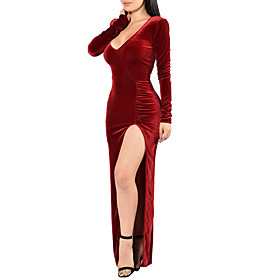 Women's Casual/Daily / Party/Cocktail Sexy / Simple Velvet Split Sheath DressSolid V Neck Maxi Long Sleeve