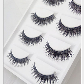 5 Pairs Of Pure Manual 080 Cotton Thick Exaggerated False Eyelash Cross Clutter