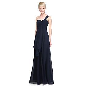 Lanting Bride Floor-length Chiffon Bridesmaid Dress - Sheath / Column One Shoulder Plus Size / Petite with Ruffles / Criss Cross plus size,  plus size fashion plus size appare