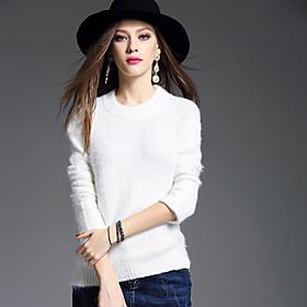 Normal Pullover Femme Décontracté / Quotidien simple,Couleur Pleine Col Arrondi Manches Longues Acrylique Hiver Epais Micro-élastique