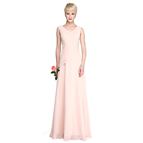Sheath / Column V Neck Floor Length Georgette Bridesmaid Dress with Crystal Detailing Side Draping by LAN TING BRIDE