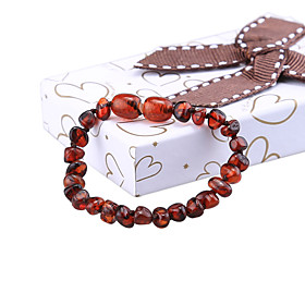 HOT 14cm Natural Amber Stones Bracelet Gifts for Baby Certificate Baltic Tee..