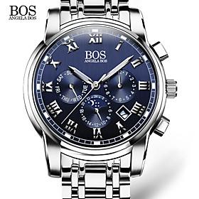 Angelabos Men's Dress Watch Fashion Watch Wrist Watch Calendar Quartz Stainless Steel Band Casual White