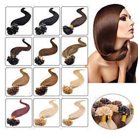 """100st 16-24 """"brazilian virgin hair u tip fusie haarverlenging nagel tip hair extensions keratine fusie 001"""