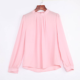 Women's Formal Simple Fall Blouse,Solid Round Neck Long Sleeve Pink Black Sheer