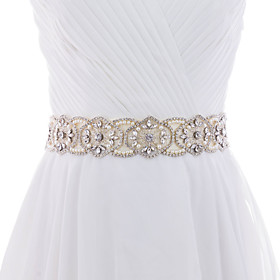 Image of Satin Wedding Party/ Evening Dailywear Sash-Beading Rhinestone Imitation Pearl Women's 98 ½in(250cm) Beading Rhinestone Imitation Pearl