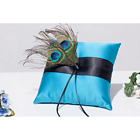 Blue 1 Ribbons / Feather / Rhinestones Satin 5471303