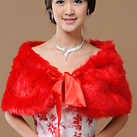 Sleeveless Faux Fur Wedding Party Evening Wedding Wraps Fur Wraps Shrugs plus size,  plus size fashion plus size appare