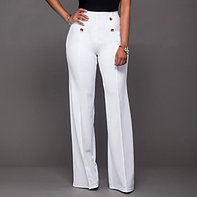 Women's High Rise Micro-elastic Chinos Pants,Vintage Simple Bootcut Solid 5468721