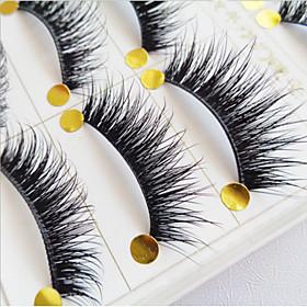 5 Pairs Of High Quality Manual False Eyelash Natural Cross Long Eyelashes Thick Cotton Stalk Eyelashes