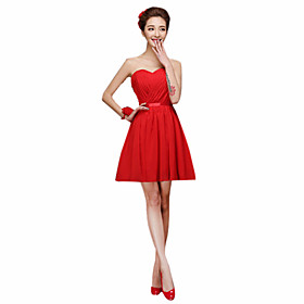 Sheath / Column Halter One Shoulder Sweetheart Straps Short / Mini Chiffon Bridesmaid Dress with Sash / Ribbon