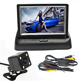 RenEPai 4.3 Inch Folding Display Monitor  Wireless 170°HD Car Rear View Camera   Wide Angle Waterproof Camera
