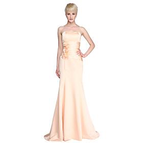 LAN TING BRIDE Floor-length Strapless Sweetheart Bridesmaid Dress - Floral Sleeveless Satin plus size,  plus size fashion plus size appare
