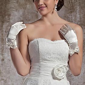 Wrist Length Fingertips Glove Elastic Satin Bridal Gloves Party/ Evening Gloves Spring Summer Fall Winter Bow