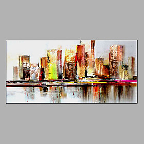 Hand-Painted Abstract  Modern Oil Painting Cityscape Oil Painting with Stretched One Panel Canvas Oil Painting