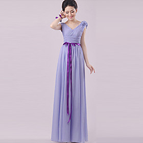 Sheath / Column Strapless Halter One Shoulder V-neck Sweetheart Straps Floor Length Chiffon Bridesmaid Dress with Flower(s) Sash / Ribbon