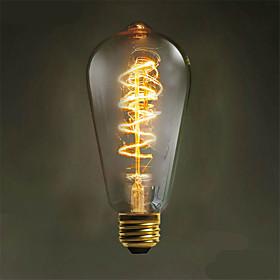 Zweihnder W408 E27  40W 500LM 3000-3500K ST64 Tungsten Core Warm Light Filament lamp(AC 220-240V)