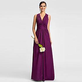 A-Line V Neck Floor Length Chiffon Bridesmaid Dress with Ruched Side Draping by LAN TING BRIDE