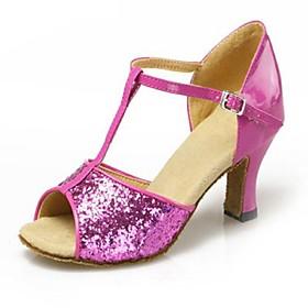 Non Customizable Women's Dance Shoes Paillette Paillette Latin / Ballroom Sandals Flared Heel Practice / Beginner / Professional / Indoor