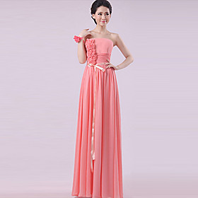 Sheath / Column Strapless Halter One Shoulder V-neck Sweetheart Straps Floor Length Chiffon Bridesmaid Dress by Yaying