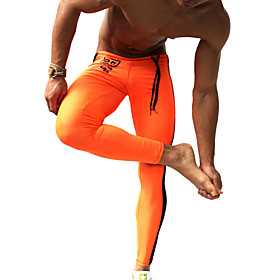 Men's Running Tights / Gym Leggings - Orange, Green Sports Fashion Compression Clothing Fitness, Gym, Workout Activewear Breathable, Quick Dry, Moisture Permea