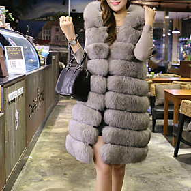 Women's Going out Club Holiday Sexy Street chic Sophisticated Fur Coat,Solid Hooded Sleeveless Winter White Black Gray Faux Fur Polyester