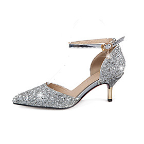 Women's Glitter Spring / Summer Heels Stiletto Heel Pointed Toe Sequin / Buckle Gold / Silver / Wedding / Party  Evening / 2-3 / Party  Evening
