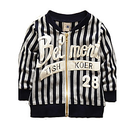Image of Boy's Cotton Fashion Spring/Fall Going out/Daily Stripe Casual Long Sleeve Round Collar Print Children Cardigan Baseball Jacket Coat