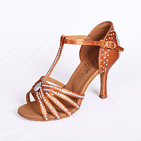 Women's Satin Latin Shoes / Ballroom Shoes / Salsa Shoes Rhinestone Sandal Flared Heel Non Customizable Brown / EU39 Category:Salsa Shoes,Ballroom Shoes,Latin Shoes; Upper Materials:Satin; Embellishment:Rhinestone; Lining Material:Suede; Heel Type:Flared Heel; Actual Heel Height:2.95; Gender:Women's; Range:EU39; Style:Sandal; Heel Height(inch):2 - 3; Outsole Materials:Suede; Closure Type:Buckle; Customized Shoes:Non Customizable; Listing Date:12/10/2014; Foot Length:; SizeChart1_ID:2:468; Size chart date source:Provided by Supplier.; Base Categories:Shoes,Apparel  Accessories,Dance Shoes; Popular Country:Italy,Sweden,United States; Special selected products:hot