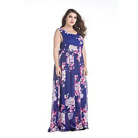 Mousseline de Soie Robe Femme Grandes Tailles simple,Imprimé U Profond Maxi Sans Manches Bleu Polyester Printemps Eté Taille Normale