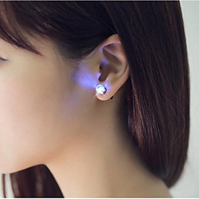 2PCS LED Earring Light Up Crown Glowing Crystal Stainless Ear Drop Ear Stud ..