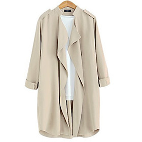 Women's Solid  Coat (Cotton)